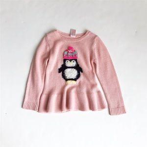 Cat & Jack penguin knit peplum sweater GUC 4T